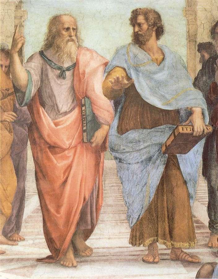 Fresco by Raphael (1483-1520). Plato and Aristotle. 70x55cm