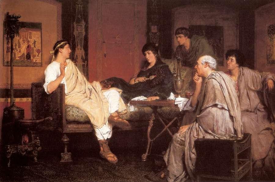 Albio Tibullo alla casa di Delia. Tela di Alma Tadema (1836-1912). 70x46cm