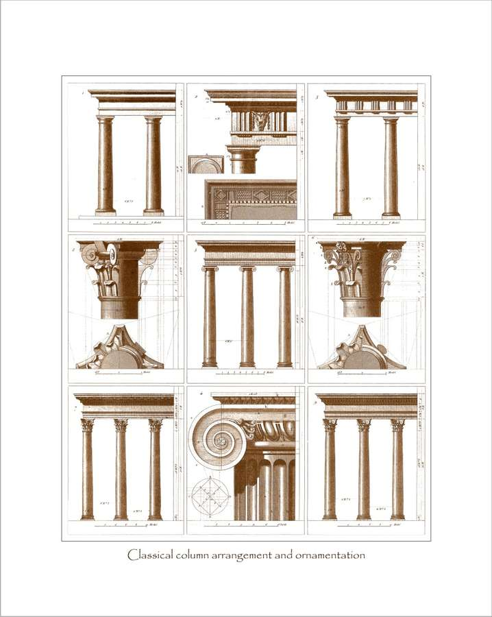Classical Column Arrangement And Ornamentation 80x64cm