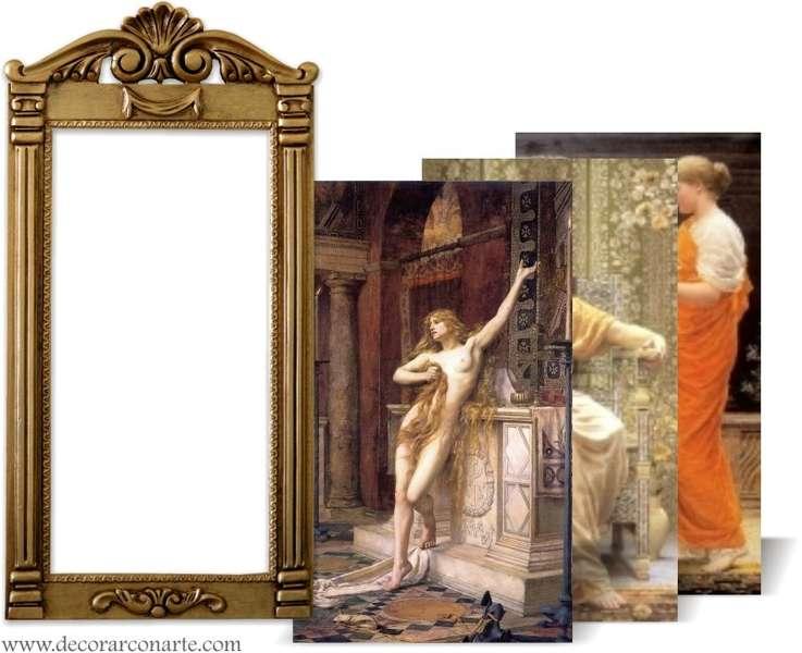 Cuadro con lienzo a elegir en marco modelo par s dorado - Cuadros con marcos ...