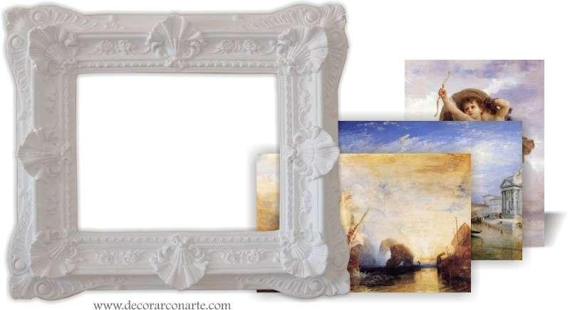 Cuadro con lienzo a elegir en marco danubio blanco. 55x47cm ...