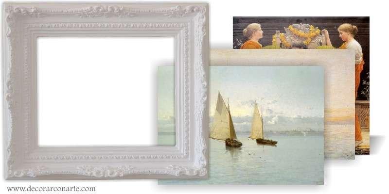 Cuadro con lienzo a elegir en marco florencia blanco for Marcos para lienzos