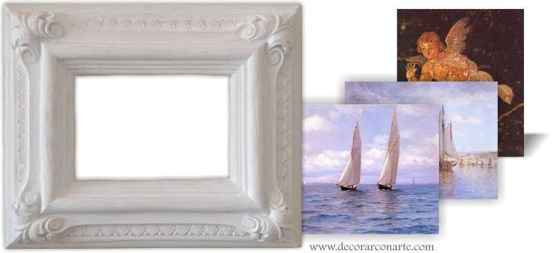 Cuadro con lienzo a elegir en marco roterdam blanco for Marcos para lienzos