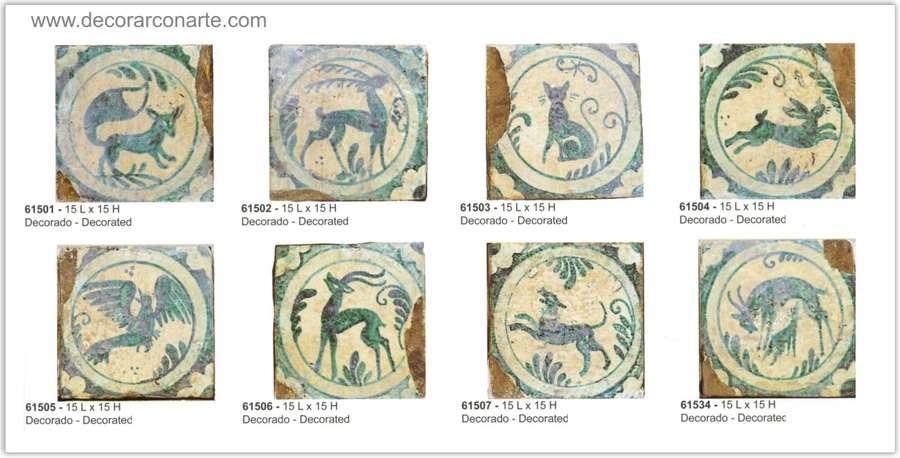 Azulejos antiguos decorados medidas 15x15cm 8 modelos for Azulejos clasicos