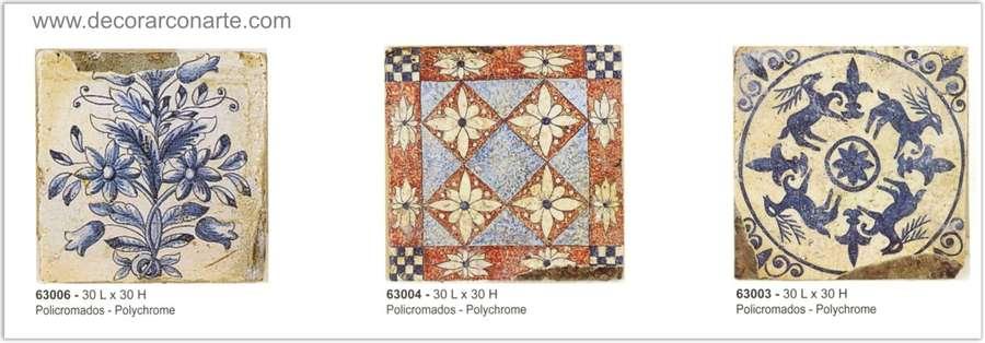 Azulejos antiguos policromados medidas 30x30cm 3 for Azulejos clasicos