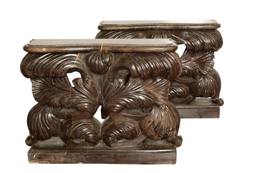 Pareja de pies de mesa hojas 60x13x45cm venta de muebles - Pies de mesa de marmol ...