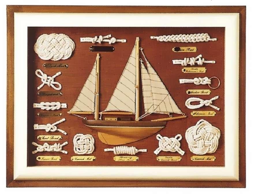 Gemälde mit nautischen Knoten. 55x40x5,5cm - Seefahrt Gemälde