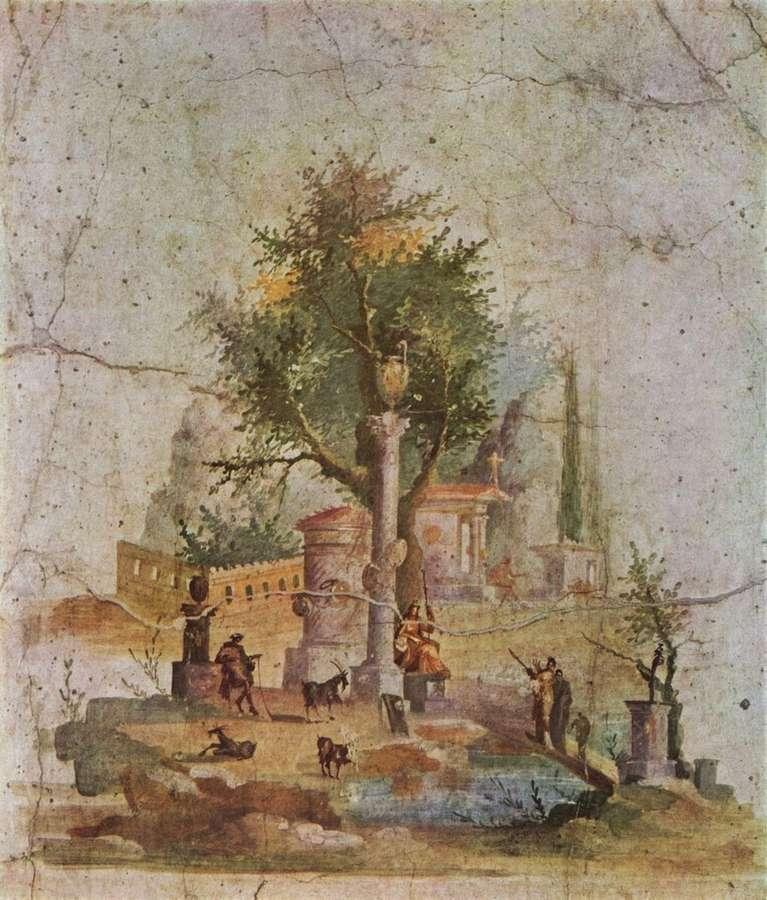 Pompéi Peinture Murale Carré Romain 70x53cm