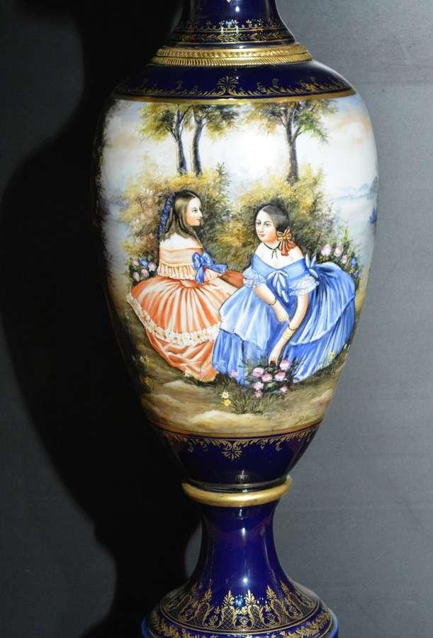 Porcelain Vase Sevres Style Cobalt Blue 28x28x110 Cms