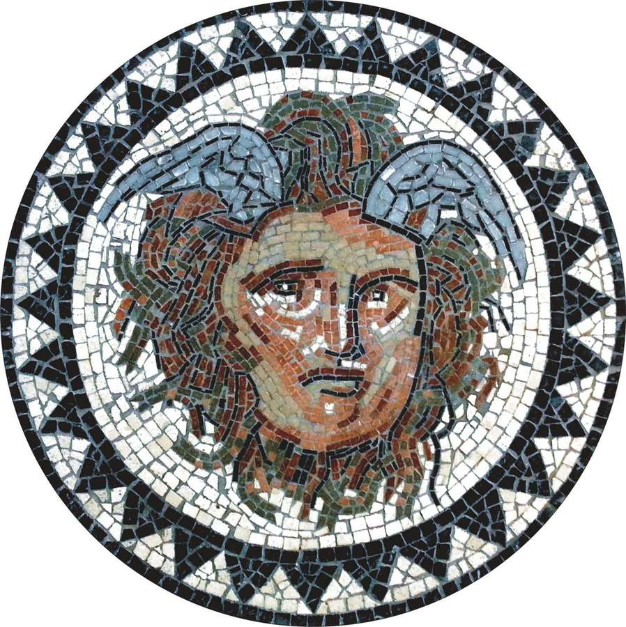 Circular Mosaic Of Medusa D 40cm Sale Of Roman Mosaics