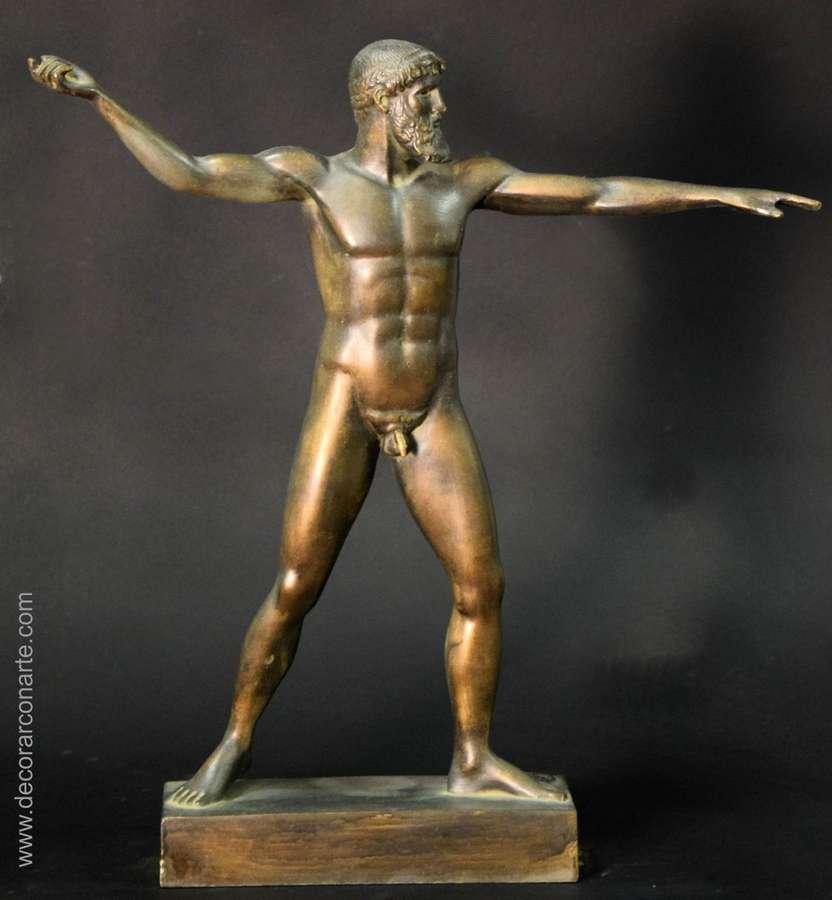 Figure Of Poseidon Patinated In Bronze 44cm