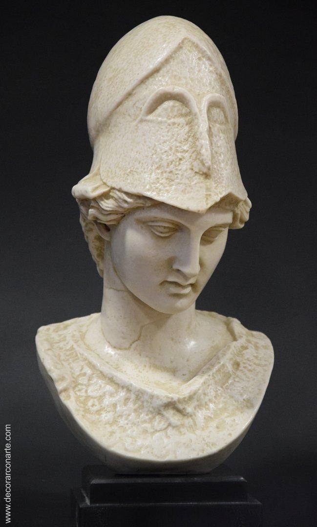 Exclusive d/écoratifs Buste Sculpture Figure d/écorative en Pierre Artificielle Argent avec Base 30 x 34 cm