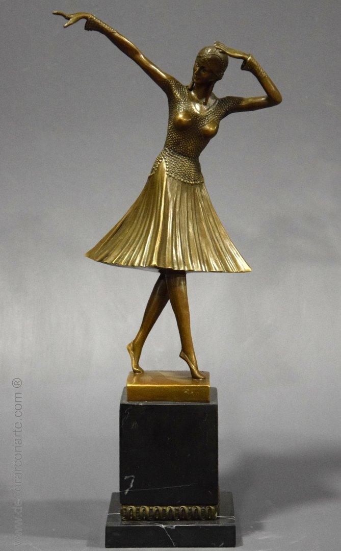"""Bronze Art deco """"Miro"""". 43x21x14 cm - Decorar con Arte"""