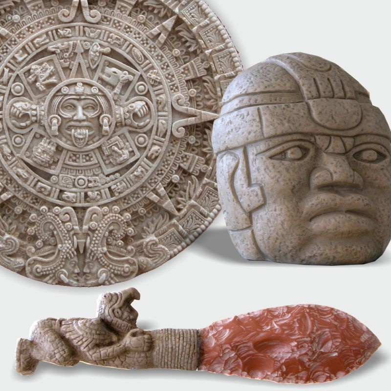 Sculptures, figures and reliefs of pre-Columbian America