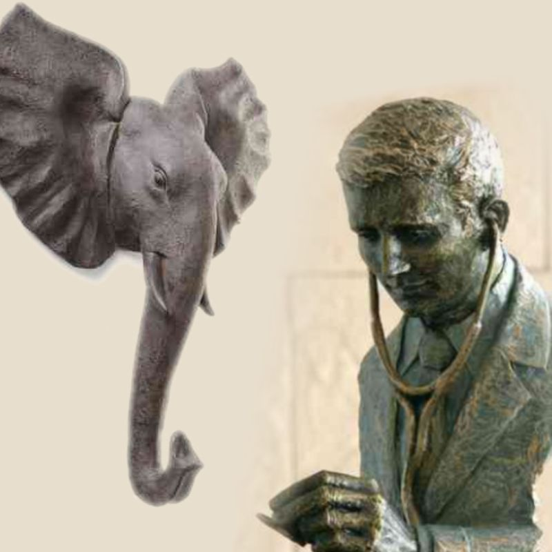 Various figures and sculptures