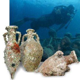 Underwater amphorae. Roman, Phoenician and Greek