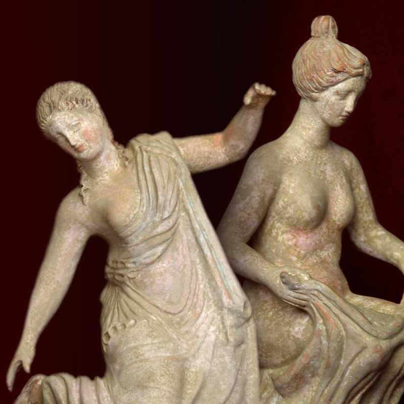 Tanagra. Greek figures in terracotta