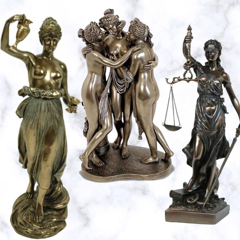 Figuras decorativas de resina metalizada