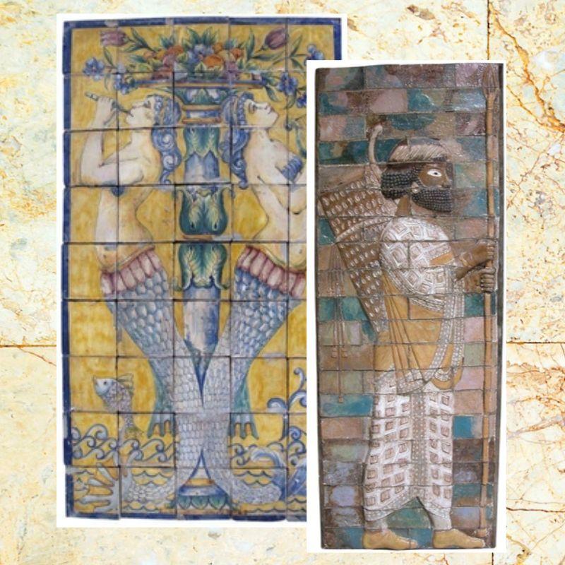 Peintures murales et tuiles. Rosettes