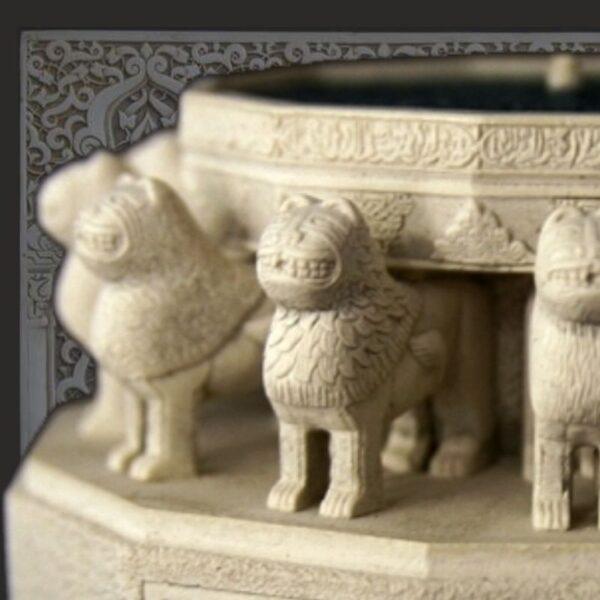 Décoration arabe. Fontaines, Colonnes, Antiques lampes, verres