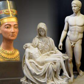Sculture in marmo ricostituito e bassorilievi di varie culture
