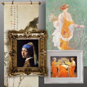 Pictures, paintings and antique frames.