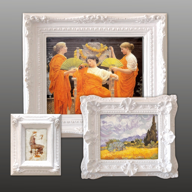 Antique paintings. White frames