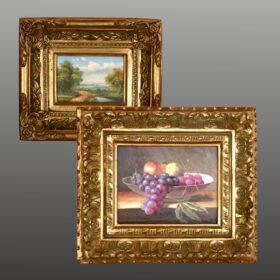 Cuadros pintados al oleo y enmarcados